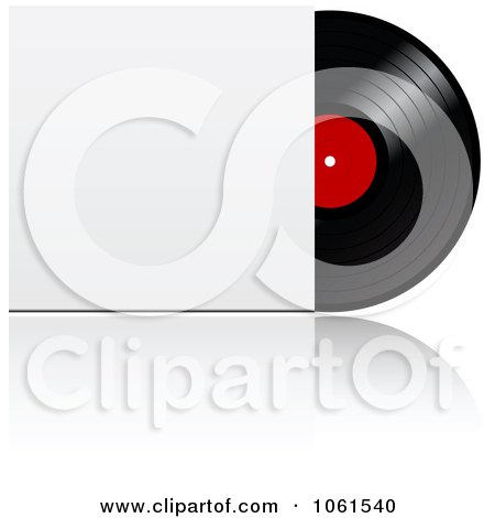 Royalty-Free Vector Clip Art Illustration of a 3d Vinyl Record With A Blank Sleeve by Vector Tradition SM