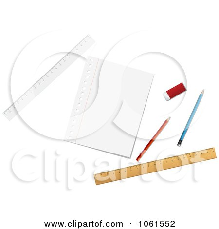 Royalty-Free Vector Clip Art Illustration of a Digital Collage Of Pencils, Rulers, An Eraser And Paper by Vector Tradition SM