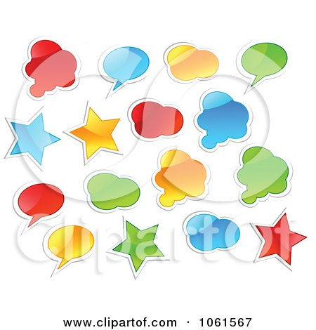 Royalty-Free Vector Clip Art Illustration of a Digital Collage Of Shiny Colorful Star, Cloud And Word Balloon Stickers by Vector Tradition SM