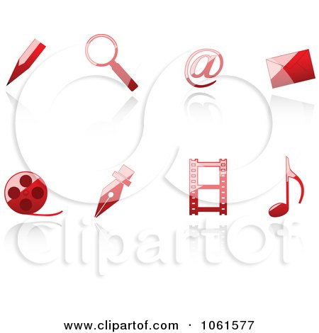 Royalty-Free Vector Clip Art Illustration of a Digital Collage Of 3d Shiny Red Web Browser Icons by Vector Tradition SM