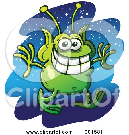 Clipart Grinning Martian Against Stars - Royalty Free Vector Illustration by Zooco