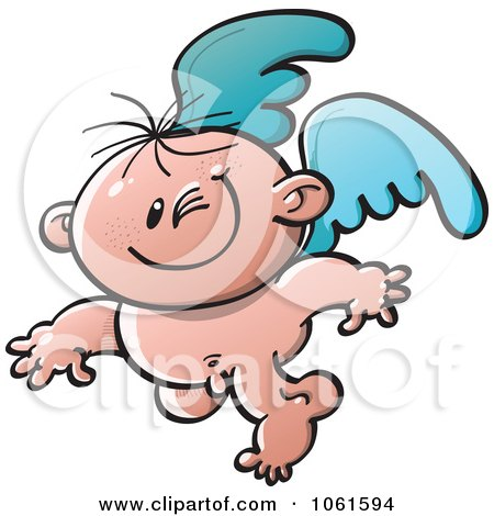 Clipart Winking Baby Angel - Royalty Free Vector Illustration by Zooco