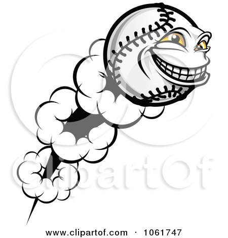 Clipart Flying Softball Character - Royalty Free Vector Illustration by Vector Tradition SM