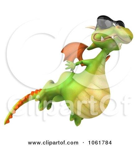 Clipart 3d Flying Dragon Wearing Shades - Royalty Free CGI Illustration by Julos