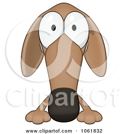 Clipart Cartoon Brown Pookie Wiener Dog Sign 1 - Royalty Free CGI Illustration by Julos