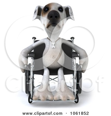 Clipart 3d Disabled Jack Russell Terrier In A Wheelchair 1 - Royalty Free CGI Illustration by Julos