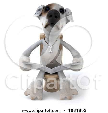 Clipart 3d Jack Russell Terrier Pooch Reading On The Toilet - Royalty Free CGI Illustration by Julos