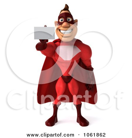 Clipart 3d Red Super Hero Guy Holding Out A Business Card - Royalty Free CGI Illustration by Julos