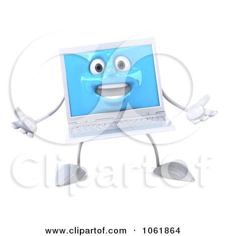 Clipart 3d White Laptop Welcoming - Royalty Free CGI Illustration by Julos