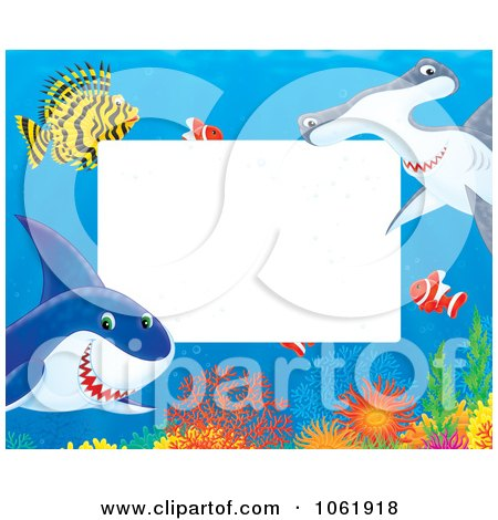 Clipart Horizontal Fish And Shark Frame - Royalty Free Illustration by Alex Bannykh