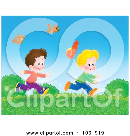 Clipart Two Boys Running Outside - Royalty Free Illustration by Alex Bannykh
