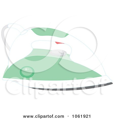 Clipart Green Hand Iron - Royalty Free Vector Laundry Illustration by Alex Bannykh