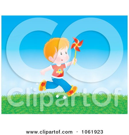 Clipart Boy Running With A Pinwheel - Royalty Free Illustration by Alex Bannykh