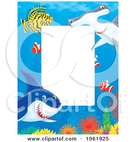 Clipart Vertical Fish And Shark Frame - Royalty Free Illustration by Alex Bannykh