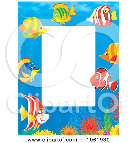 Clipart Vertical Fish And Coral Reef Frame - Royalty Free Illustration by Alex Bannykh