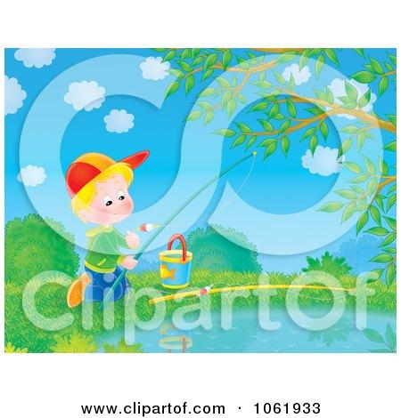 Clipart Boy Fishing In A Pond - Royalty Free Illustration by Alex Bannykh