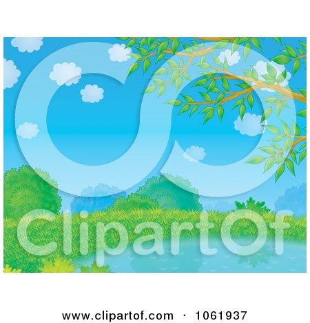 Clipart Lush Pond Landscape - Royalty Free Illustration by Alex Bannykh