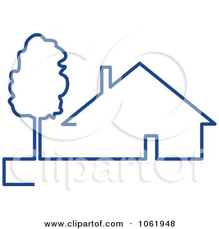 Clipart Blue House 1 - Royalty Free Vector Illustration by Vector Tradition SM