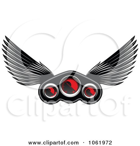 Clipart Winged Race Car Speedometer 1 - Royalty Free Vector Illustration by Vector Tradition SM