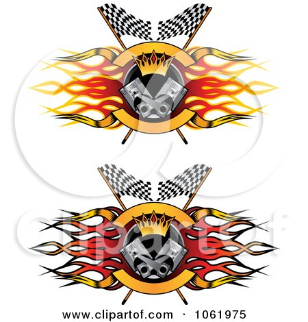 Clipart Flame Flags And Piston Motor Sports Banners