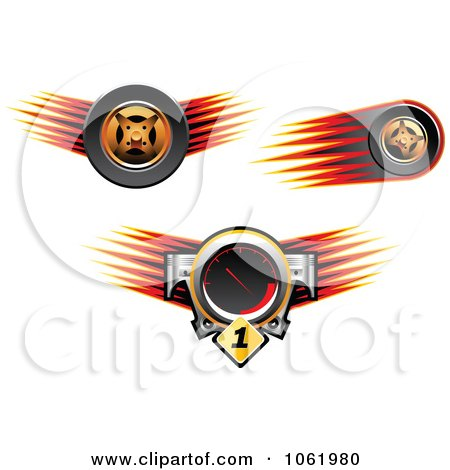 Clipart Speedometer And Race Car Tires - Royalty Free Vector Illustration by Vector Tradition SM