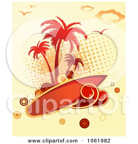 Clipart Palm Tree Island And Surfboard Background - Royalty Free Vector Clip Art Illustration by Vector Tradition SM