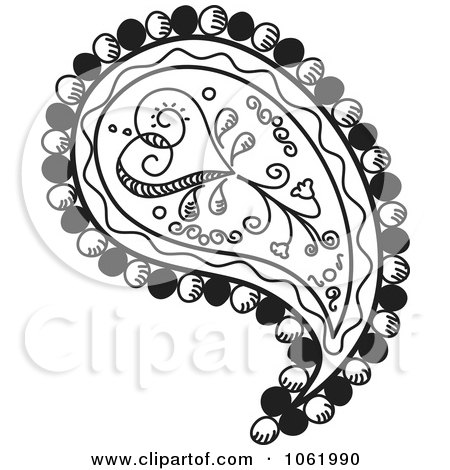 Clipart Heart Paisley Design Black And White Version 1 - Royalty Free Vector Illustration by inkgraphics
