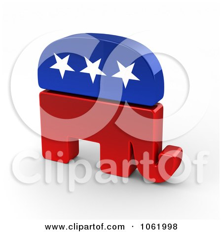 Clipart 3d Republican Elephant - Royalty Free CGI Illustration by stockillustrations