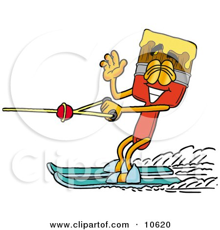 Clipart Picture of a Paint Brush Mascot Cartoon Character Waving While Water Skiing by Toons4Biz