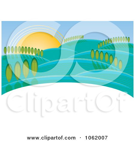 Clipart Hilly Rural Landscape - Royalty Free Vector Illustration by MilsiArt