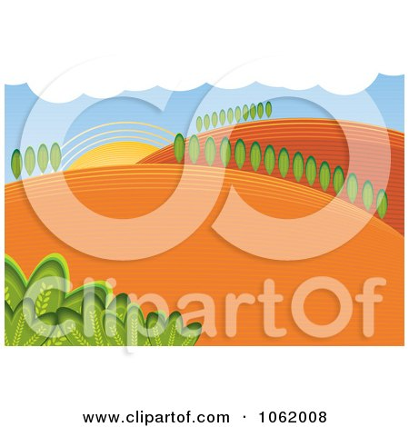 Clipart Hilly Rural Farm Landscape - Royalty Free Vector Illustration by MilsiArt