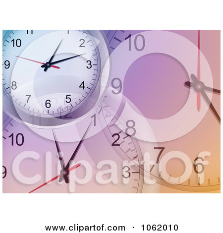 Clipart Purple Clock Background - Royalty Free Vector Illustration by elaineitalia
