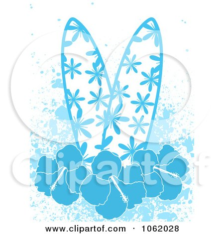 Hibiscus Flower Picture on Clipart Blue Surfboards With Hibiscus Flowers And Grunge   Royalty