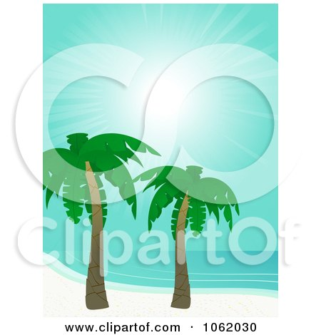 Clipart Tropical Coast With Palm Trees - Royalty Free Vector Illustration by elaineitalia