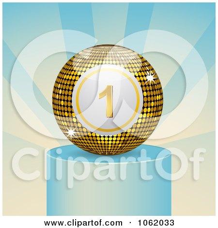 Clipart Winning Bingo Ball On A Podium - Royalty Free Vector Illustration by elaineitalia