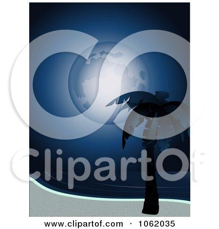 Clipart Full Moon Over A Tropical Beach - Royalty Free Vector Illustration by elaineitalia