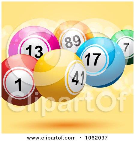 Clipart Lotto Balls On Orange - Royalty Free Vector Illustration by elaineitalia