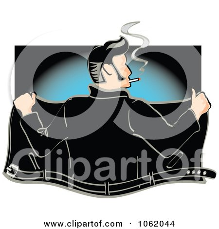 Clipart Retro Rockabilly Greaser Opening His Jacket - Royalty Free Vector Fifties Illustration by Andy Nortnik