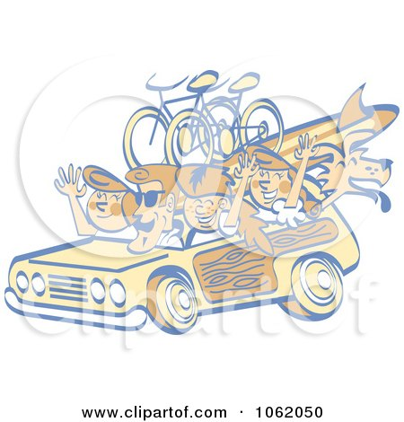 Clipart Retro Summer Family In A Woody Car - Royalty Free Vector Vacation Illustration by Andy Nortnik