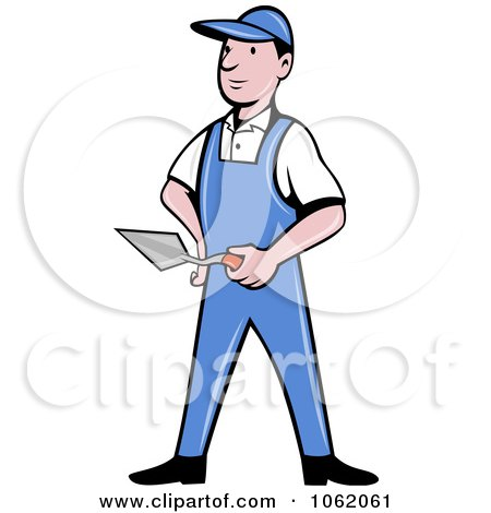 Clipart Brick Layer Worker Man - Royalty Free Vector Illustration by patrimonio