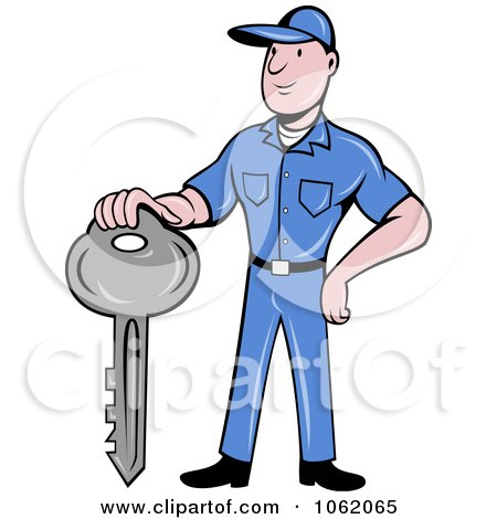 Clipart Locksmith Worker Man With A Key - Royalty Free Vector Illustration by patrimonio