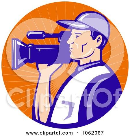 Clipart Camera Man In Blue Uniform Logo - Royalty Free Vector Illustration by patrimonio