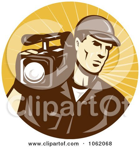 Clipart Camera Man In Brown Uniform Logo - Royalty Free Vector Illustration by patrimonio