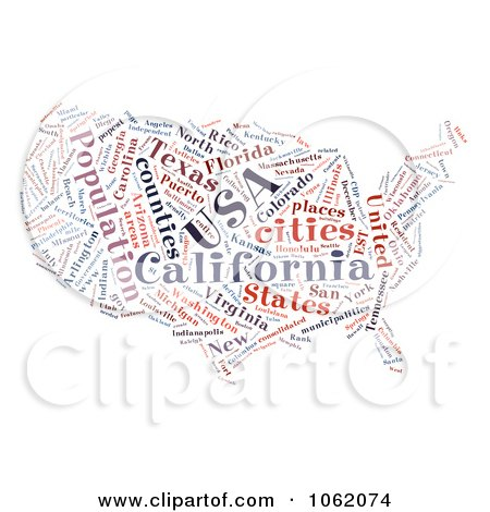 Clipart United States Map Word Collage 2 - Royalty Free Illustration by MacX