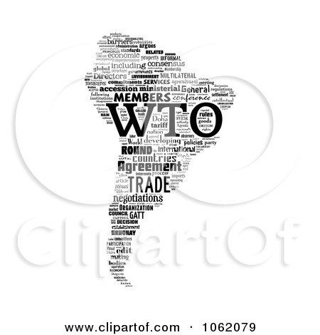 Clipart South America World Trade Organization Word Collage - Royalty Free Illustration by MacX