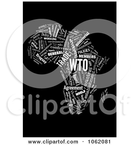 Clipart Africa Map World Trade Organization Word Collage 1 - Royalty Free Illustration by MacX