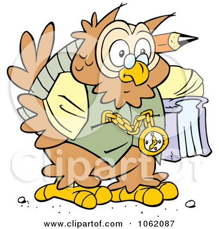 Clipart Wise Old Owl - Royalty Free Vector Illustration by Johnny Sajem