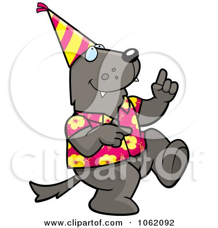 Clipart Wolf Dancing At A Party - Royalty Free Vector Illustration by Cory Thoman