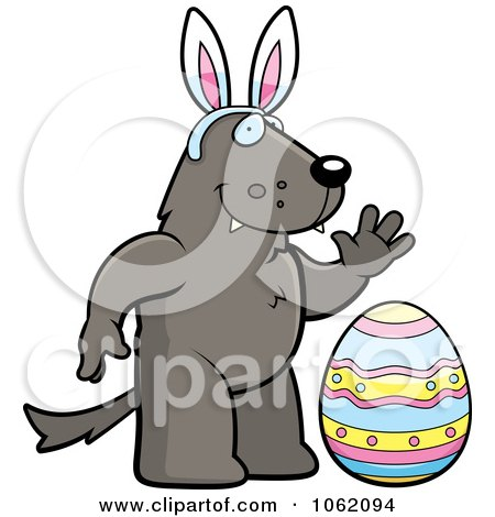 Clipart Wolf Wearing Bunny Ears By An Easter Egg - Royalty Free Vector Illustration by Cory Thoman