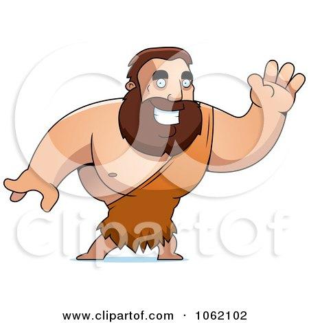 Clipart Big Barbarian Waving - Royalty Free Vector Illustration by Cory Thoman